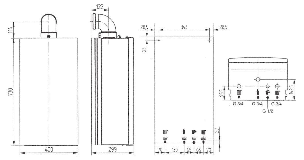 Габариты газового котла Baxi ECO Four 1.24F