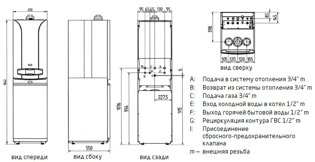 Габариты Baxi LUNA-3 Comfort COMBI 1.310 Fi+COMBI