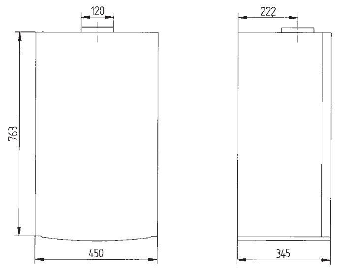 Габариты газового котла Baxi LUNA-3 Comfort 240 i