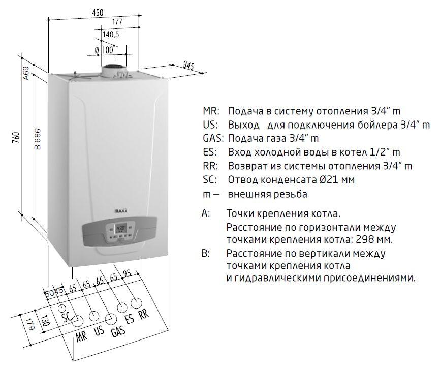 Габариты газового котла Baxi LUNA Duo-tec+ 1.28 GA