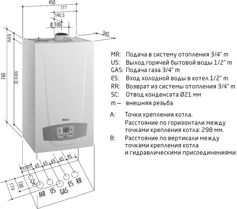 Габариты газового котла Baxi LUNA Duo-tec+ 33 GA