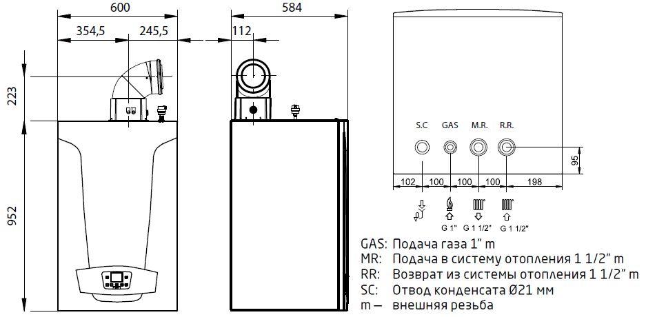 Габариты газового котла Baxi LUNA Duo-tec MP 1.90