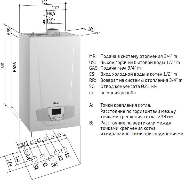 Габариты газового котла Baxi LUNA Platinum+ 33 GA