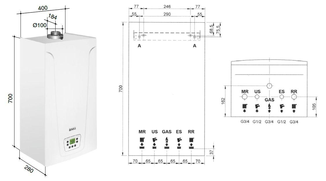 Габариты газового котла Baxi MAIN-5 14 F