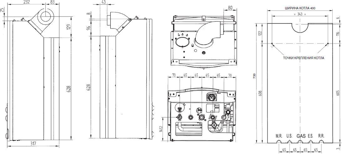 Габариты газового котла Baxi MAIN 24 F