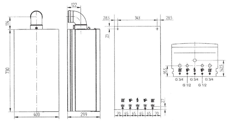 Габариты газового котла Baxi MAIN Four 240F