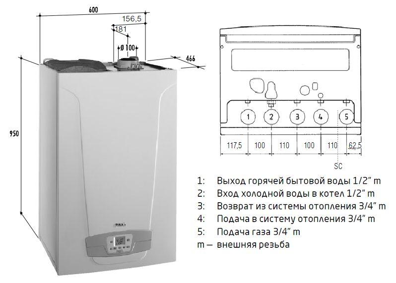 Габариты газового котла Baxi NUVOLA Duo-tec+ 16 GA