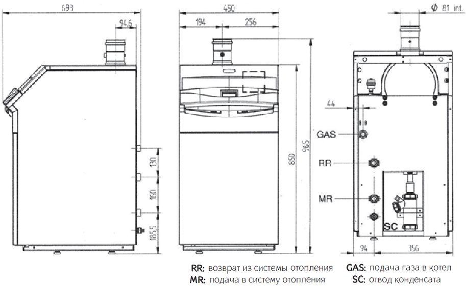 Габариты газового котла Baxi POWER HT 1.650