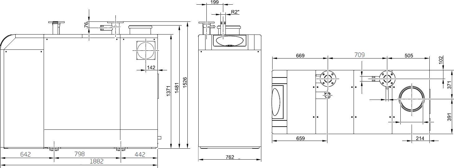 Габариты газового котла Baxi POWER HT-A 1.430