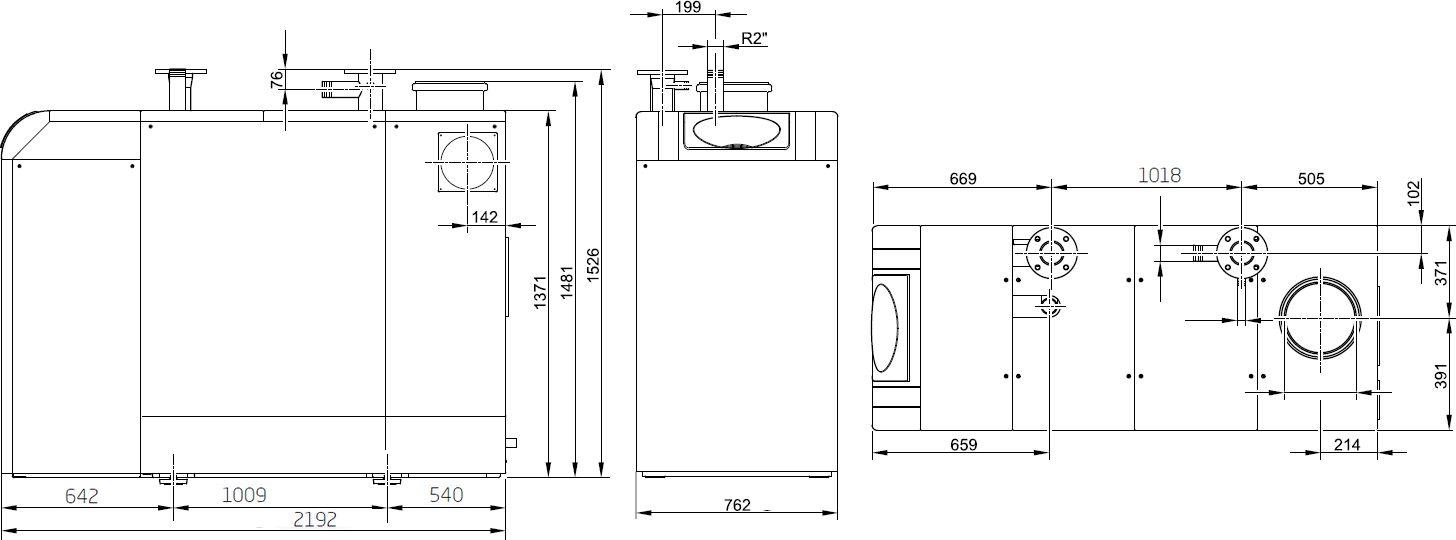 Габариты газового котла Baxi POWER HT-A 1.650