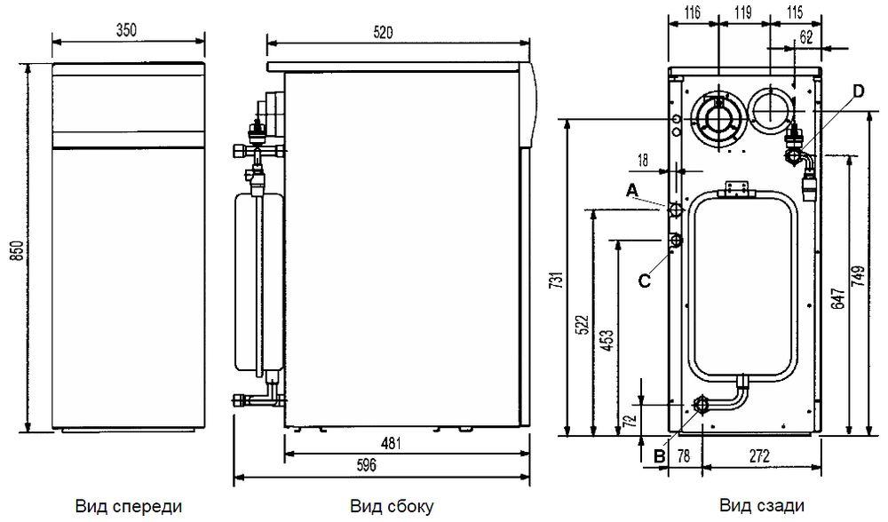 Габариты газового котла Baxi SLIM 1.230Fi 4E