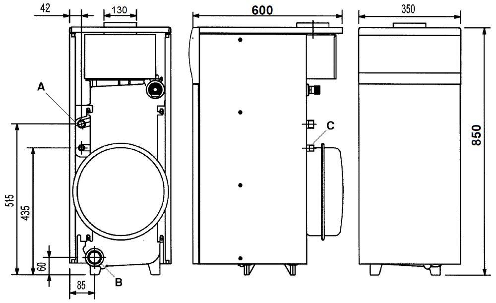 Габариты газового котла Baxi SLIM 1.230i 4E