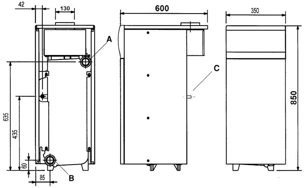 Габариты газового котла Baxi SLIM 1.230iN 4E