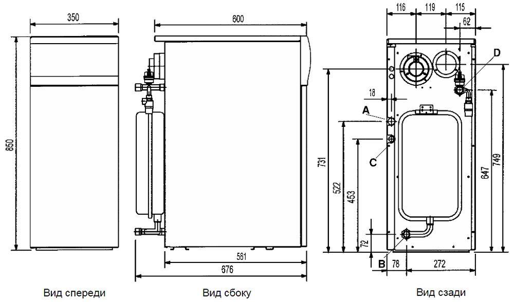 Габариты газового котла Baxi SLIM 1.300Fi 4E
