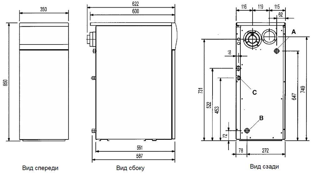 Габариты газового котла Baxi SLIM 1.300FiN 4E