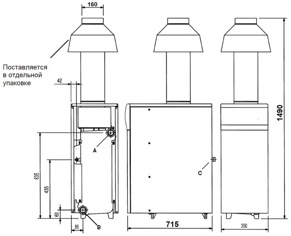 Габариты газового котла Baxi SLIM 1.490iN 7E