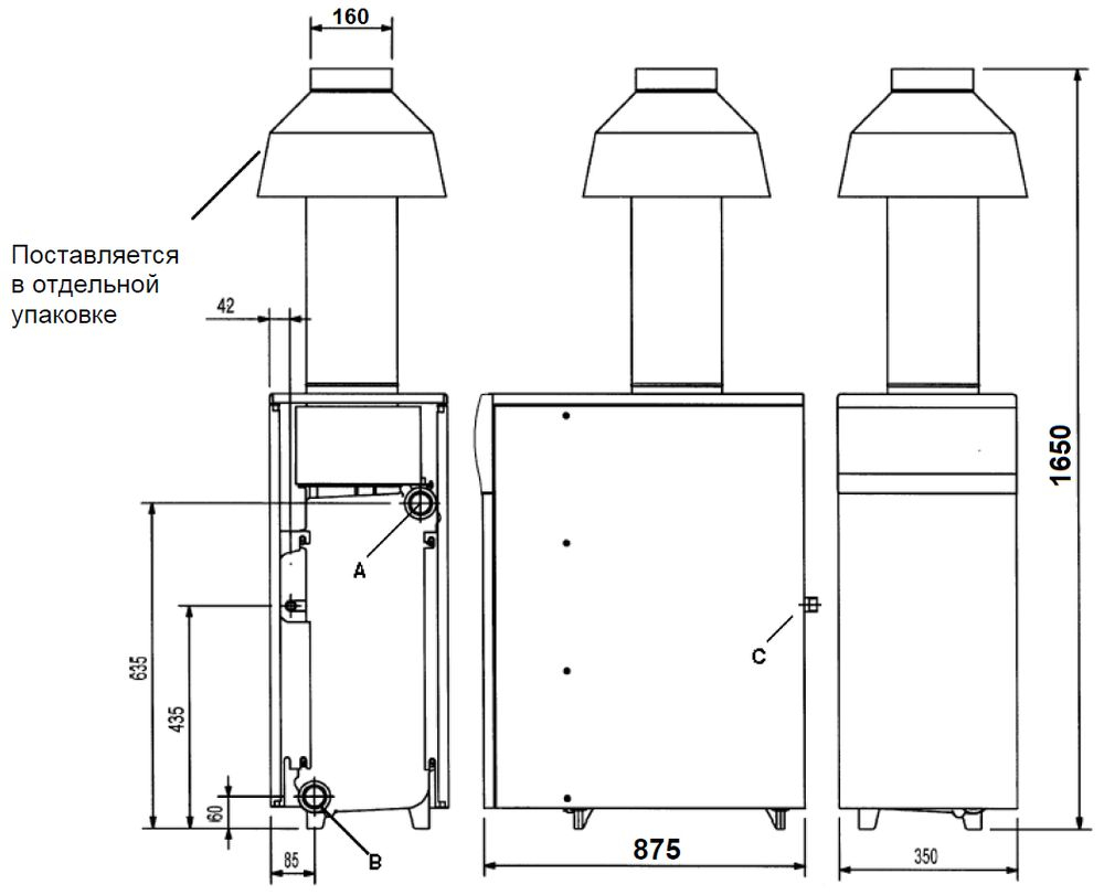 Габариты газового котла Baxi SLIM 1.620iN 9E