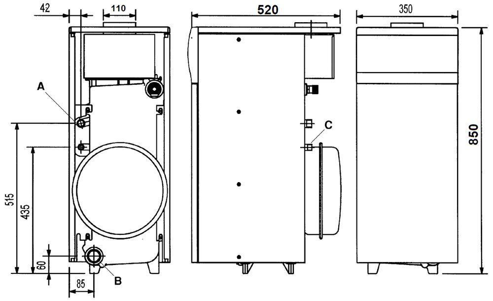 Габариты газового котла Baxi SLIM 1.150i 3E
