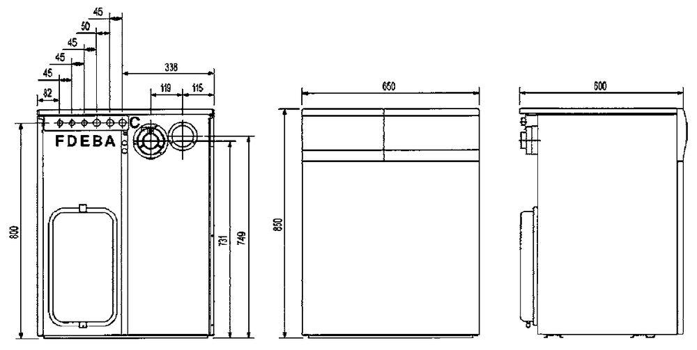 Габариты газового котла Baxi SLIM 2.300Fi 5E