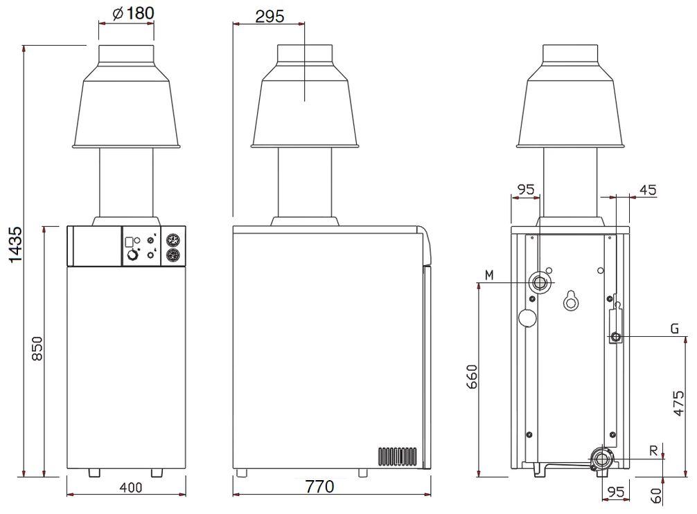 Габариты газового котла Baxi SLIM EF 1.49