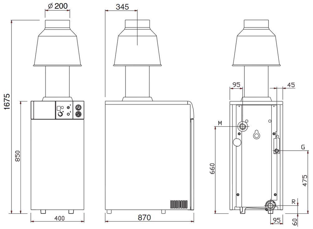 Габариты газового котла Baxi SLIM EF 1.61