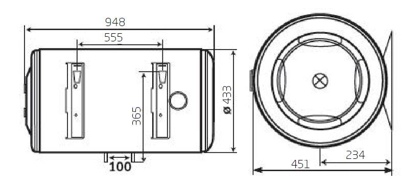 Габаритные размеры электрического водонагревателя Baxi EVN O 510