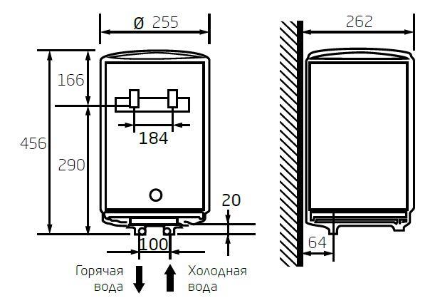 Габаритные размеры электрического водонагревателя Baxi EVN R 501