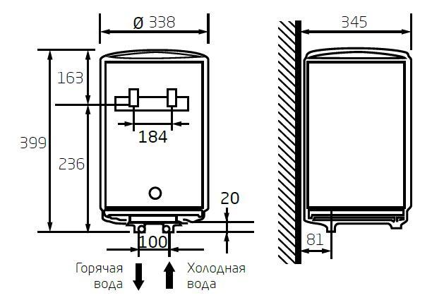 Габаритные размеры электрического водонагревателя Baxi EVN R 515