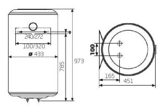 Габаритные размеры электрического водонагревателя Baxi EVN V 510
