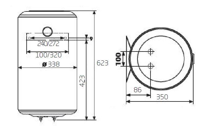 Габаритные размеры электрического водонагревателя Baxi EVN V 530