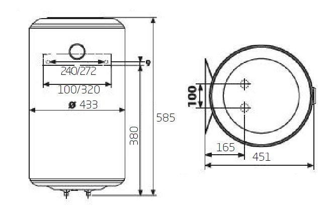 Габаритные размеры электрического водонагревателя Baxi EVN V 550