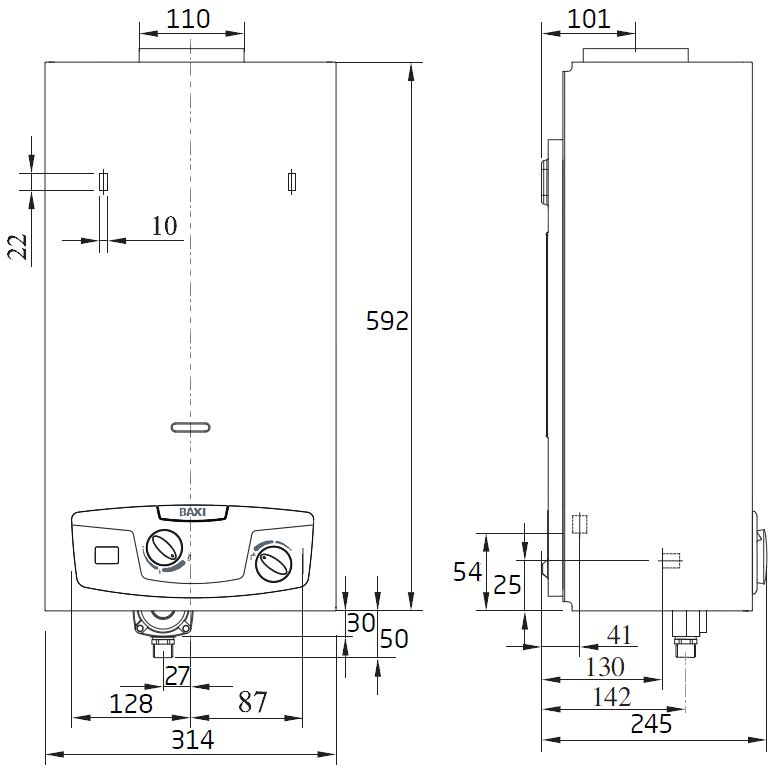 Габариты водонагревателя Baxi SIG-2 11i