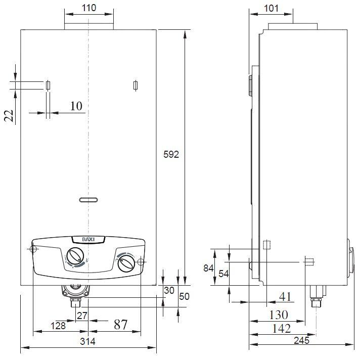 Габариты водонагревателя Baxi SIG-2 11p