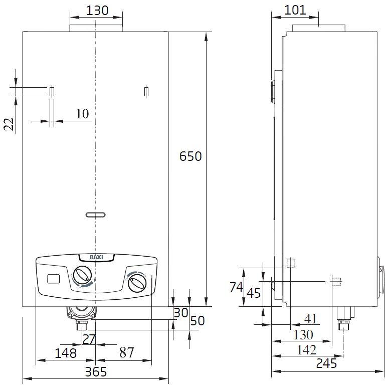 Габариты водонагревателя Baxi SIG-2 14i
