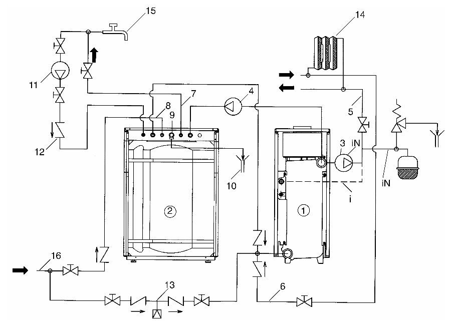 Гидравлическая схема установки бойлера Baxi SLIM UB 80 INOX к котлам серии SLIM с открытой камерой сгорания