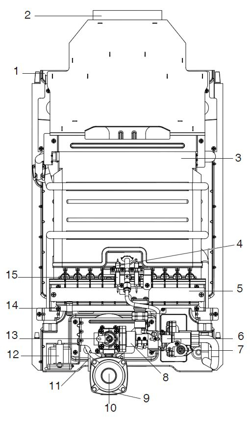 Структура водонагревателя Baxi SIG-2 14i