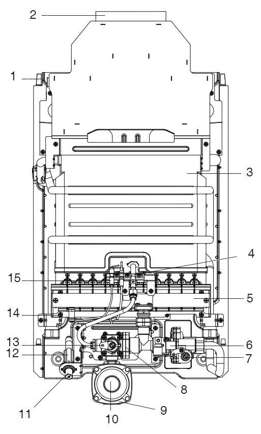 Структура водонагревателя Baxi SIG-2 11p