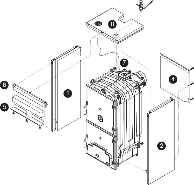 Основные части котла Baxi BPI-Eco 1.250