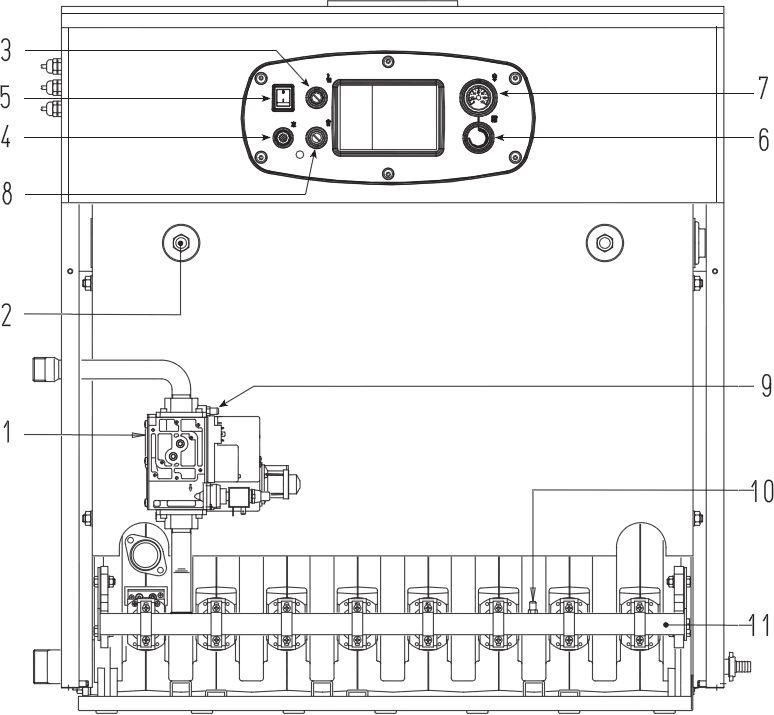 Основные части котла Baxi SLIM HPS 1.80