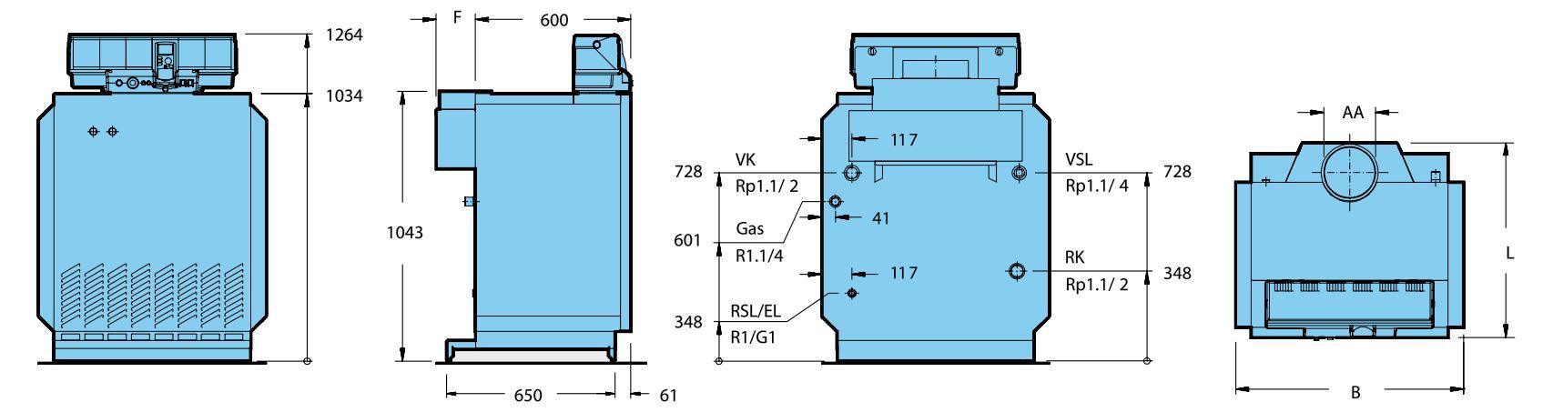 Габариты котла Buderus Logano G334-73 WS