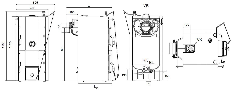 Габариты котла Buderus Logano G221-32