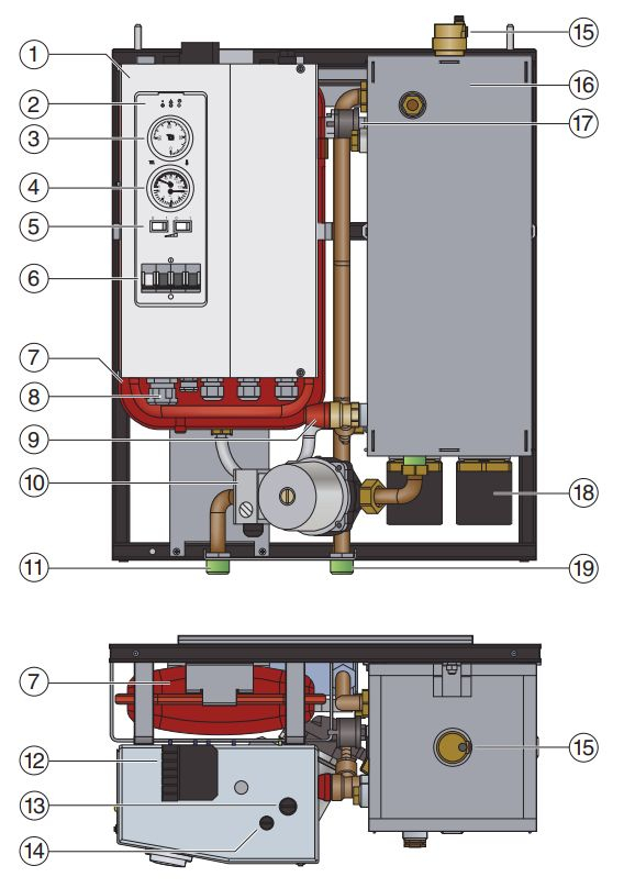 Функциональные элементы котла Buderus Logamax E213 18kW