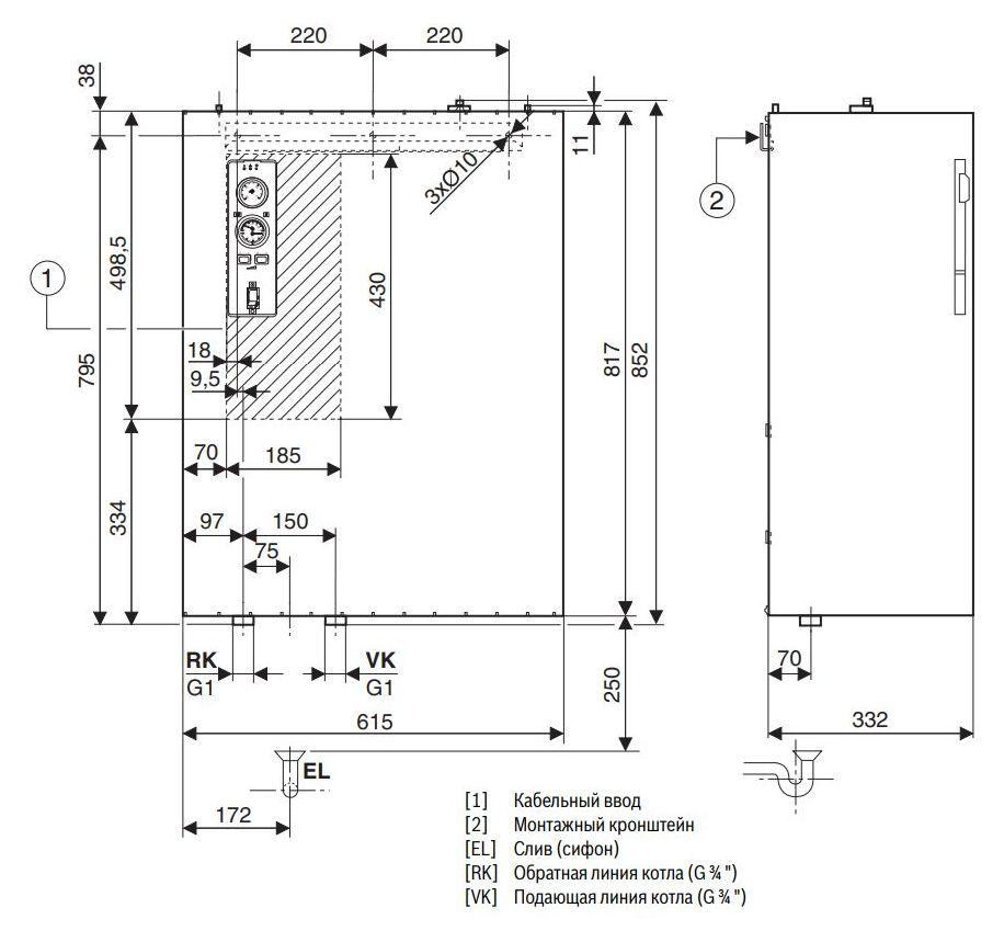 Габариты электрического котла Buderus Logamax E213 45kW