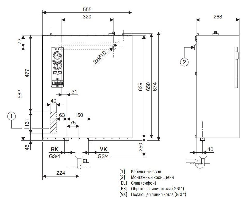 Габариты электрического котла Buderus Logamax E213 4kW