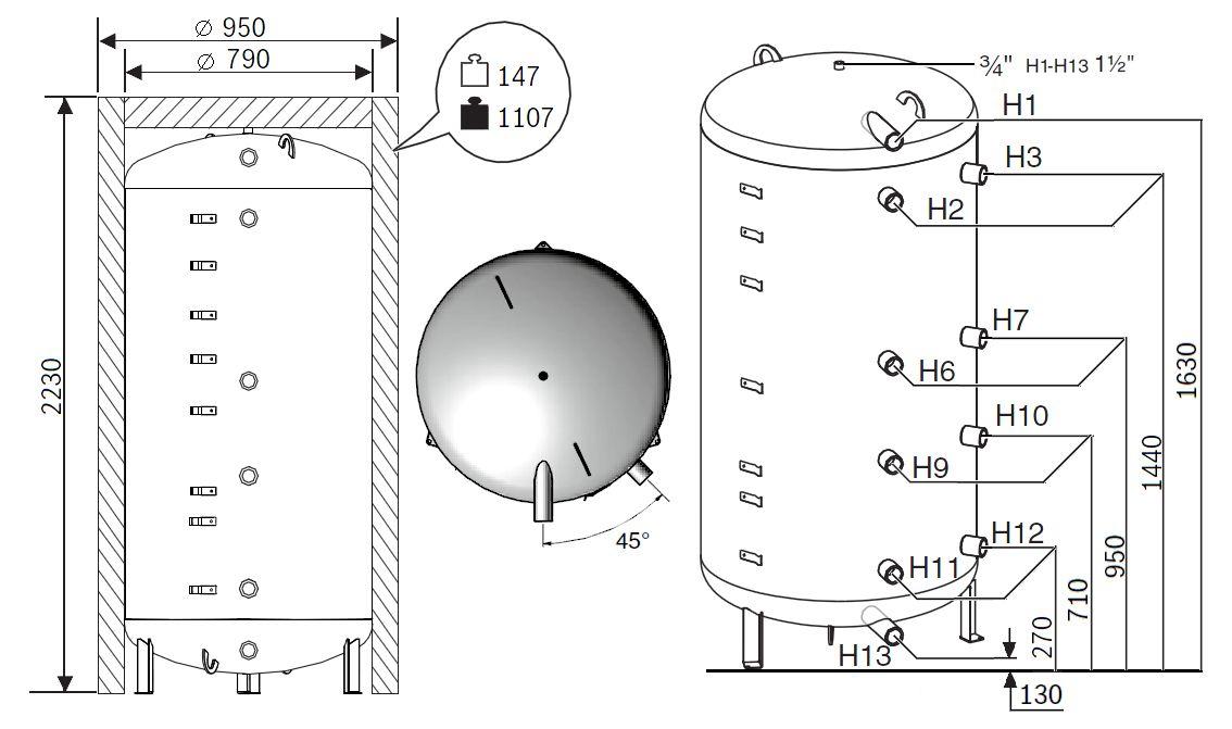 Габариты бака-аккумулятора Buderus Logalux P1000.6 MW-C