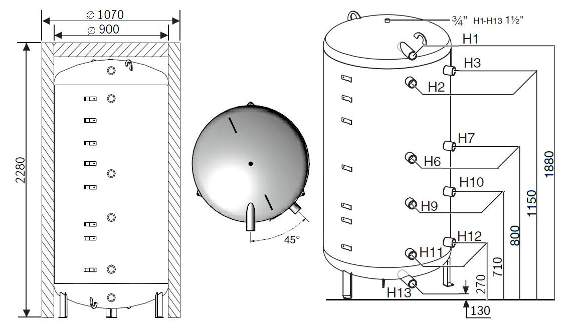 Габариты бака-аккумулятора Buderus Logalux P1000.6 M-C