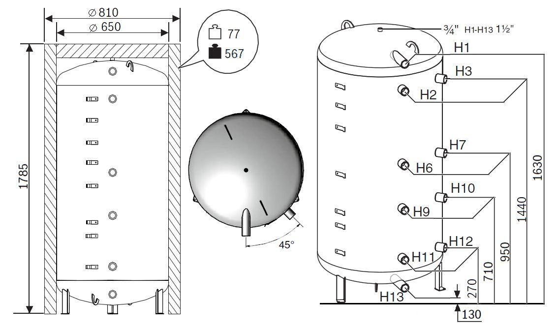 Габариты бака-аккумулятора Buderus Logalux P500.6 MW-C