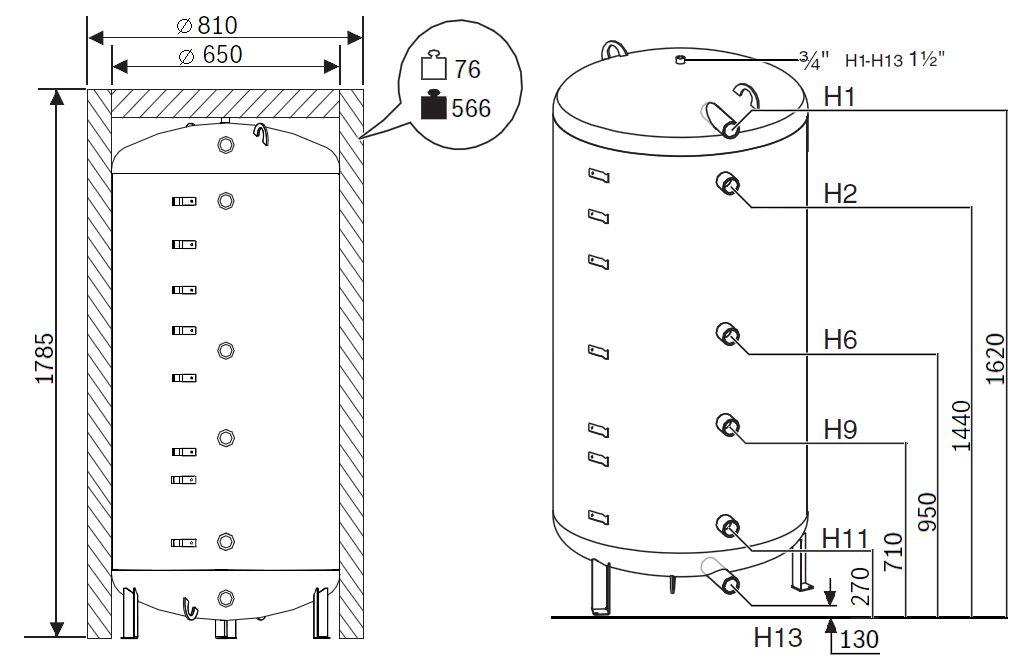 Габариты бака-аккумулятора Buderus Logalux P500.6 W-C