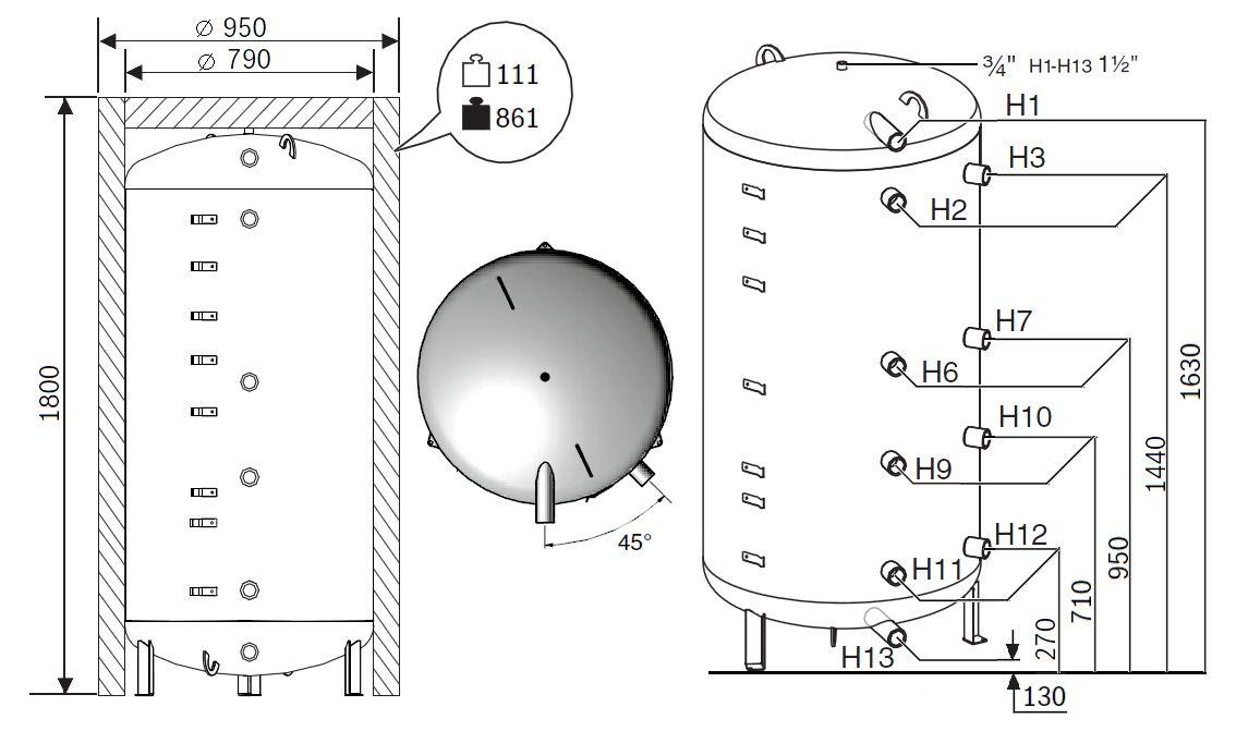 Габариты бака-аккумулятора Buderus Logalux P750.6 M-C