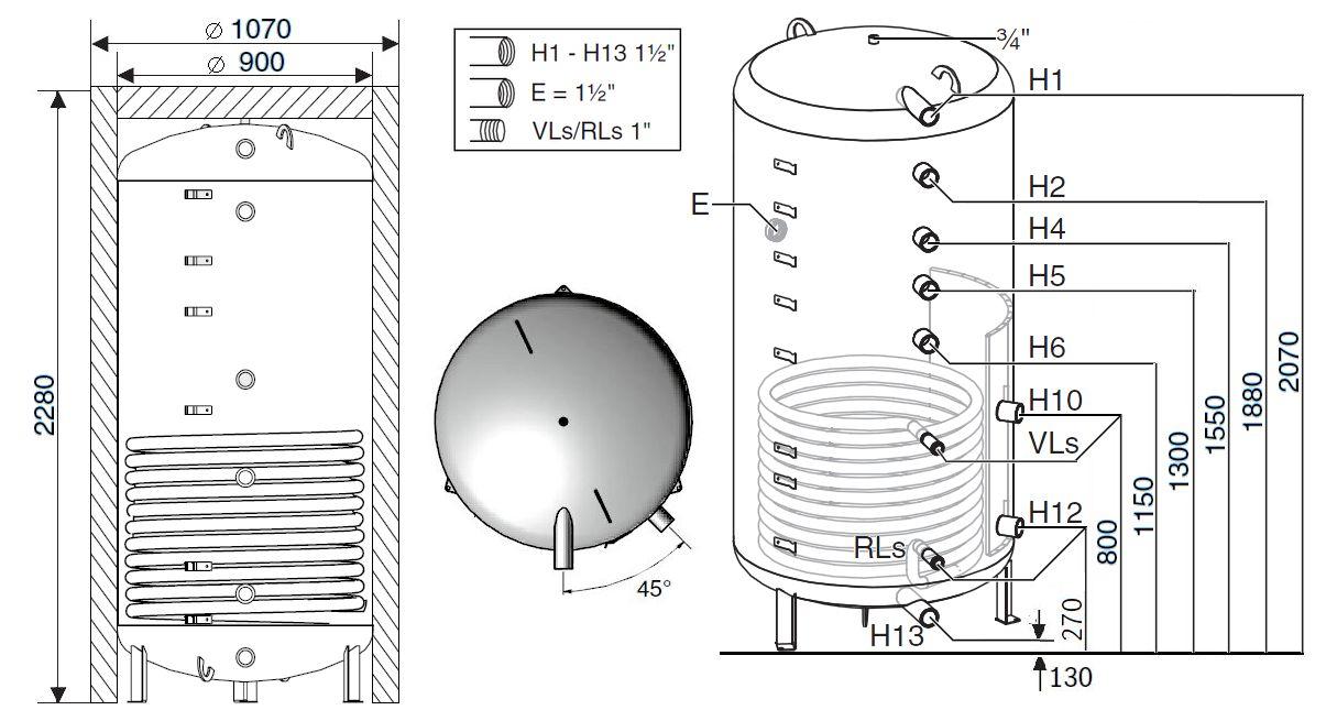 Габариты бака-аккумулятора Buderus Logalux PNR1300.6EW-C
